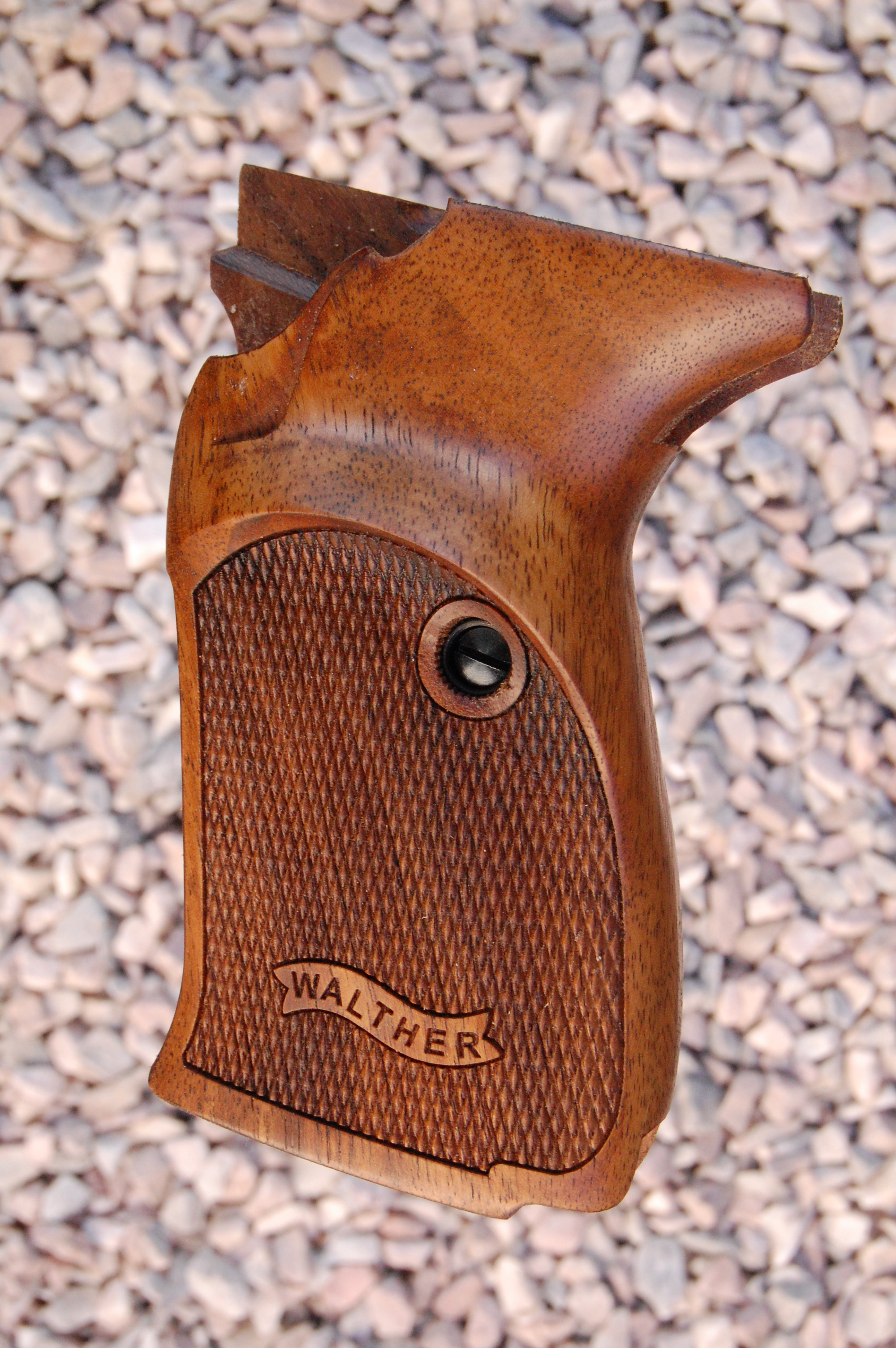 WALTHER P5 grips with Thumb rest (checkered+logo) - full size